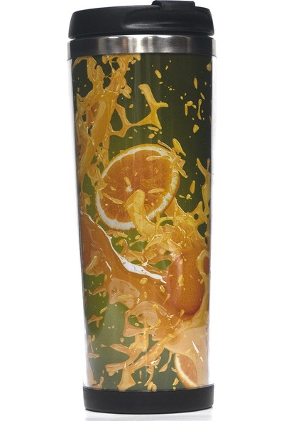 Poyener Içi Çelik Hediyelik Portakal Tasarımlı Termos Bardak Mug 350 ml