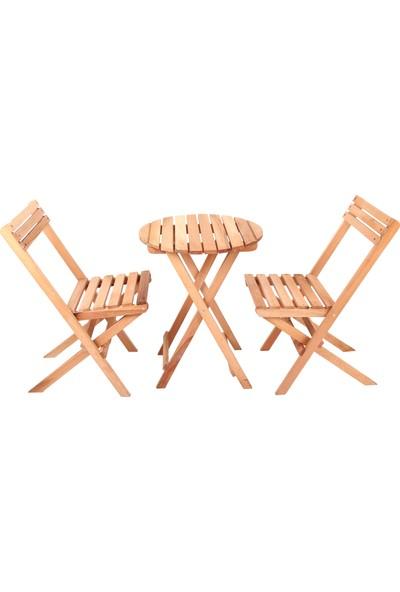 Mimilos 2 Kişilik Ahşap Bistro Takım Yuvarlak Bahçe Masası 2 Sandalye