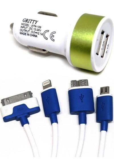 Gritty 4in1 Mavi Kablo ve Çift USB Yeşil Araç Şarj Başlık 1A 2A