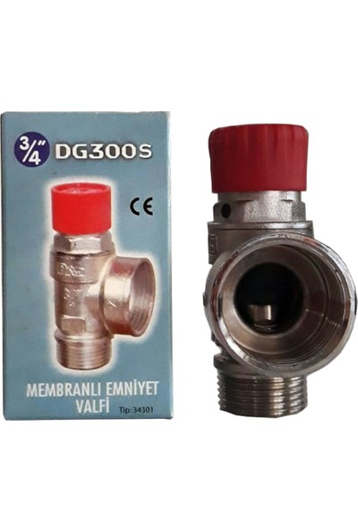 "Das DG300S 8 Bar Diyaframlı Membranlı Emniyet Ventili 3/4""-Süper Serisi Kırmızı Kapak"