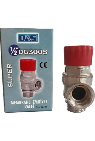 "Das DG300S 3 Bar Diyaframlı Membranlı Emniyet Ventili 1/2""-Süper Serisi Kırmızı Kapak"