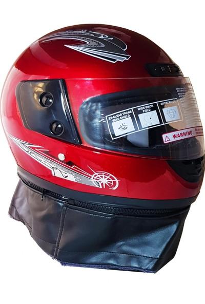 Asm Tam Kapalı Motosiklet Kaskı + Boyun Derili