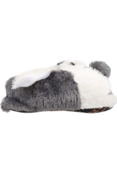 Karabulut H012 Hayvan Figürlü Peluş Kız Çocuk Panduf Gri