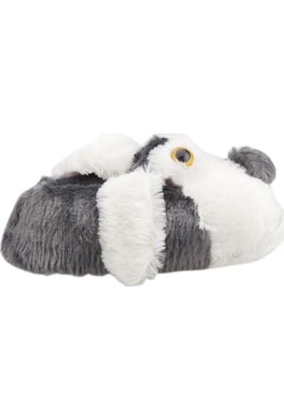 Karabulut H013 Hayvan Figürlü Peluş Kız Çocuk Panduf Gri