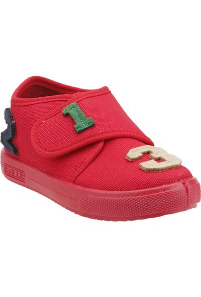 Sanbe 106P104 Okul Kreş Kız/Erkek Çocuk Keten Panduf Ayakkabı Kirmizi