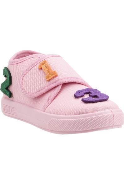 Sanbe 106P104 Okul Kreş Kız/Erkek Çocuk Keten Panduf Ayakkabı Pembe
