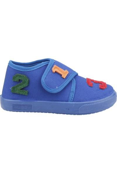 Sanbe 106P104 Okul Kreş Kız/Erkek Çocuk Keten Panduf Ayakkabı Saks