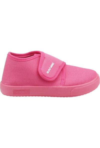 Sanbe 106P102 Okul Kreş Kız/Erkek Çocuk Keten Panduf Ayakkabı Fuşya