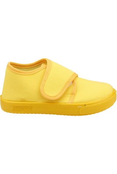 Sanbe 106P102 Okul Kreş Kız/Erkek Çocuk Keten Panduf Ayakkabı Sari