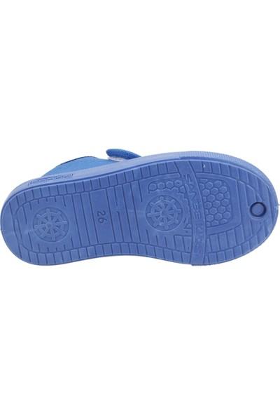 Sanbe 106P102 Okul Kreş Kız/Erkek Çocuk Keten Panduf Ayakkabı Saks