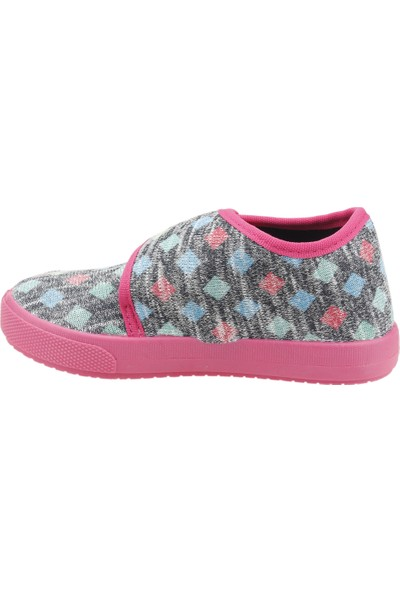Sanbe 106P124 Okul Kreş Kız/Erkek Çocuk Keten Panduf Ayakkabı Fuşya