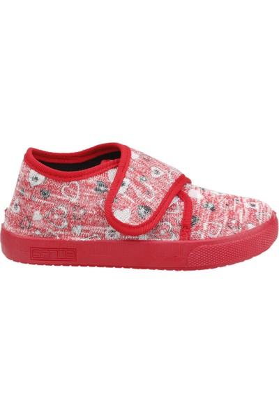 Sanbe 106P124 Okul Kreş Kız/Erkek Çocuk Keten Panduf Ayakkabı Kirmizi
