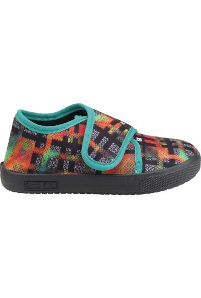Sanbe 106P126 Okul Kreş Kız/Erkek Çocuk Keten Panduf Ayakkabı Yeşil