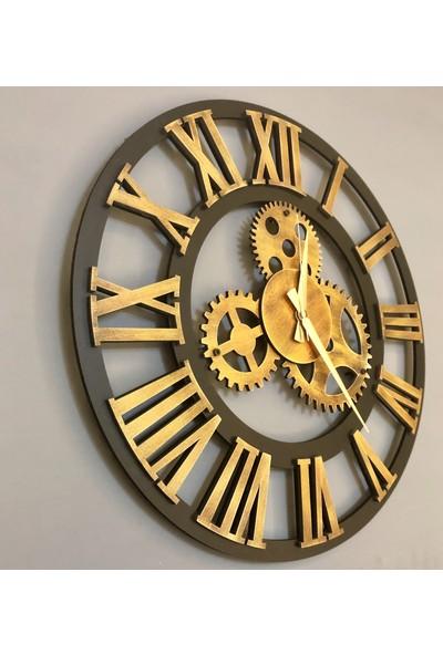Kayra Tasarım Atölyesi Dekoratif Saat Antik Gold 50 cm
