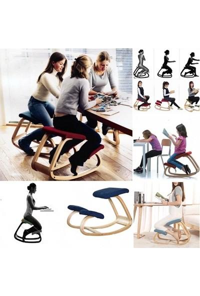 Carneil Kamburlaşma ve Boyun Düzleşme Önleyici Sandalye Ofis Çalışma Ahşap Sandalye Mavi