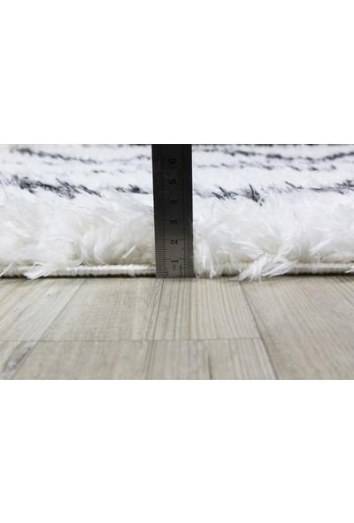 Koza Halı Marakesh Beyaz-Antrasit Shaggy Halı 0420A 80 X 150 Cm