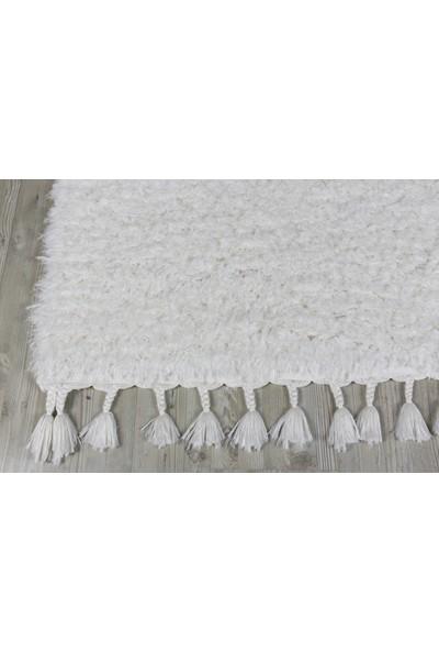 Koza Halı Marakesh Beyaz Shaggy Halı 0277I 80 X 150 Cm