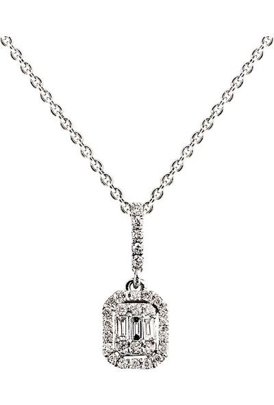 Clavis Jewelry Baget Pırlanta Kolye 14 Ayar