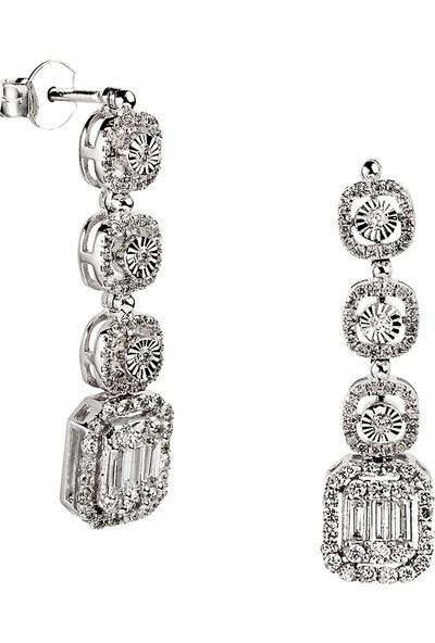 Clavis Jewelry Baget Pırlantalı Efektli Pırlanta Küpe 8 Ayar