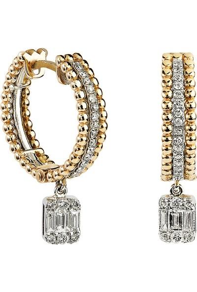 Clavis Jewelry Baget Pırlantalı Halka Küpe 14 Ayar