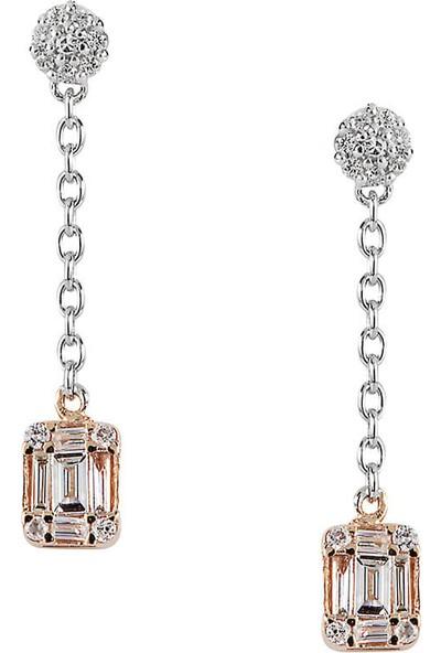 Clavis Jewelry Baget Sallantılı Pırlanta Küpe 14 Ayar