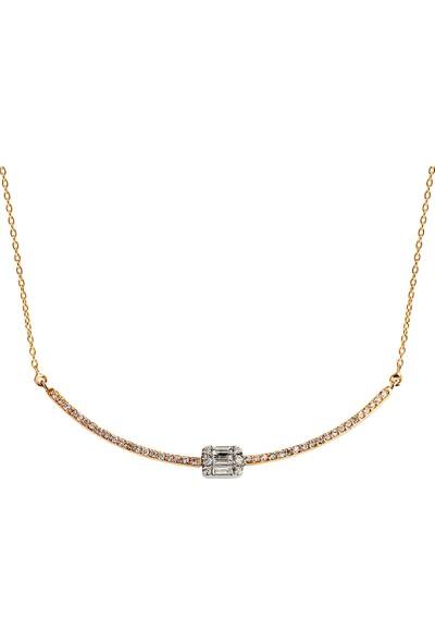 Clavis Jewelry Baget Taşlı Pırlanta Kolye 18 Ayar