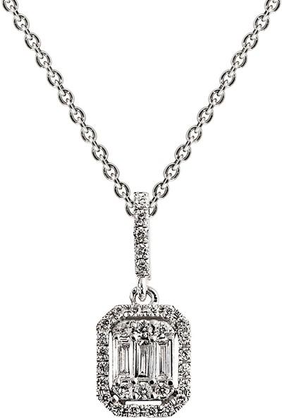 Clavis Jewelry Baget Taşlı Pırlanta Kolye 14 Ayar