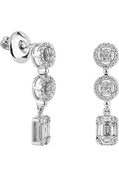 Clavis Jewelry Bagetli Pırlantalı Fantezi Küpe 14 Ayar
