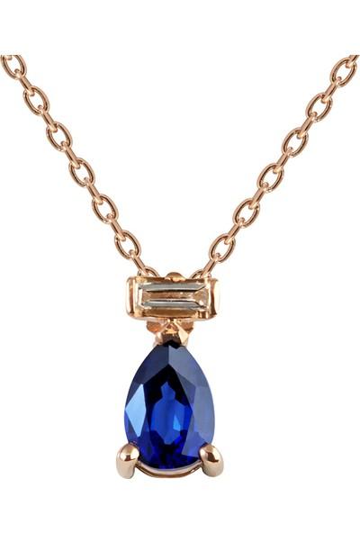 Clavis Jewelry Bagetli Safir Taşlı Kolye 8 Ayar