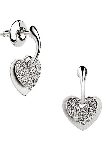 Clavis Jewelry Çift Kalp Pırlantalı Küpe 18 Ayar