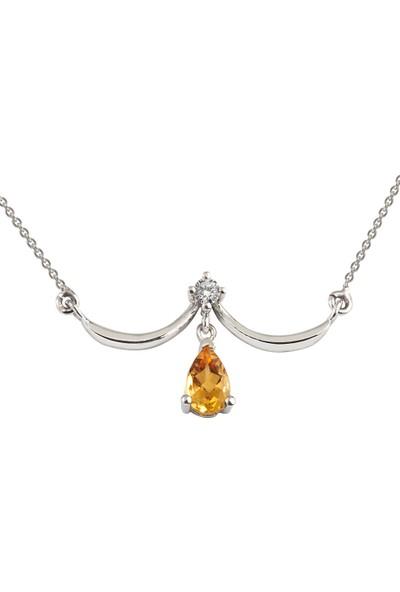 Clavis Jewelry Citrine Taşlı Fantezi Kolye 8 Ayar
