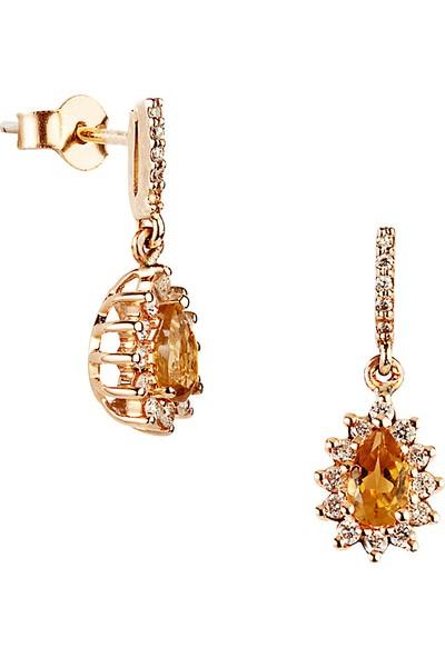 Clavis Jewelry Citrine Taşlı Pırlanta Küpe 18 Ayar