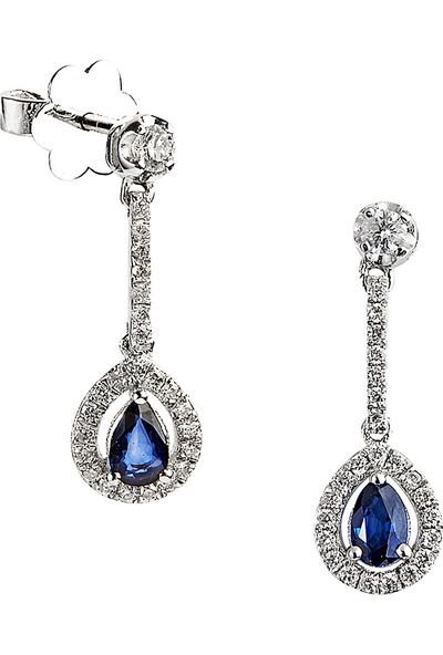 Clavis Jewelry Damla Kesim Safirli Pırlanta Küpe 18 Ayar