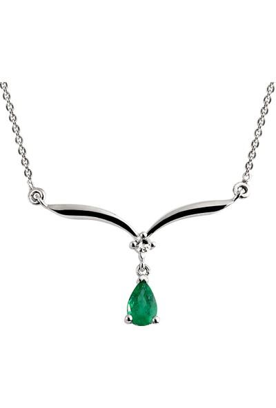 Clavis Jewelry Damla Safirli Pırlanta Kolye 8 Ayar