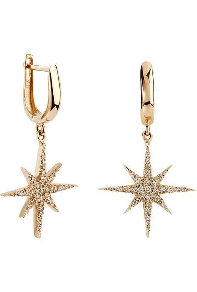 Clavis Jewelry Kuzey Yıldızı Pırlanta Küpe 14 Ayar