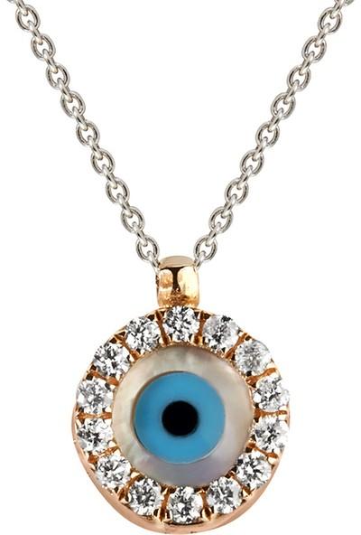 Clavis Jewelry Nazar Boncuklu Pırlanta Kolye 14 Ayar