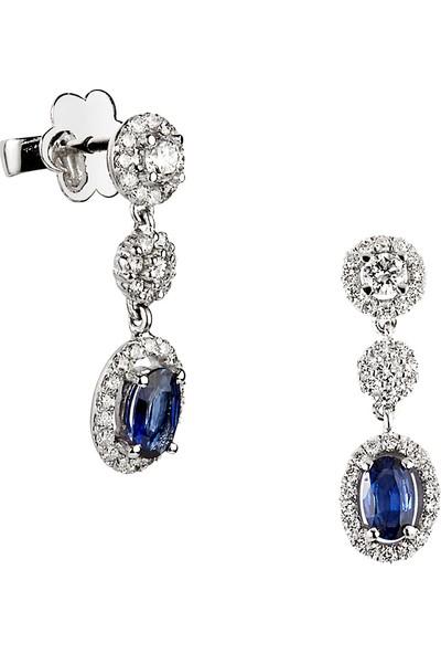 Clavis Jewelry Oval Kesim Safirli Pırlanta Küpe 18 Ayar