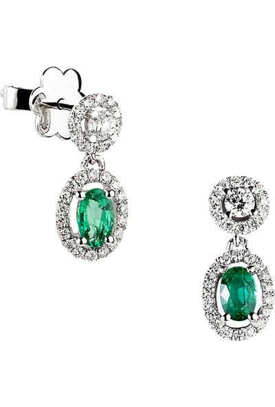 Clavis Jewelry Oval Kesim Zümrütlü Pırlanta Küpe 18 Ayar