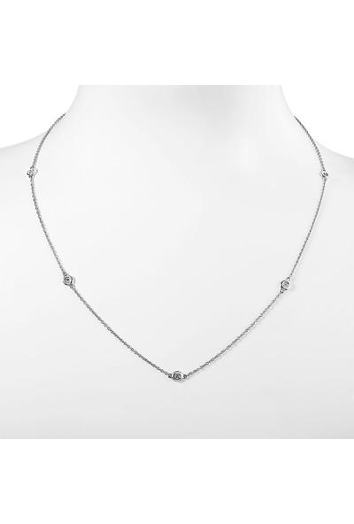 Clavis Jewelry Pırlanta Bezeli Zincir Kolye 14 Ayar