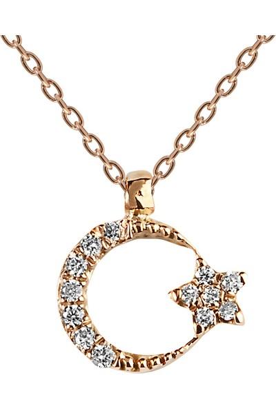 Clavis Jewelry Pırlantalı Ayyıldız Kolye 14 Ayar
