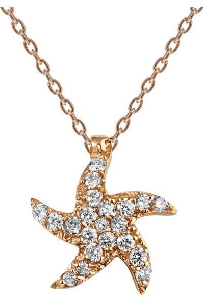 Clavis Jewelry Pırlantalı Deniz Yıldızı Kolye 14 Ayar
