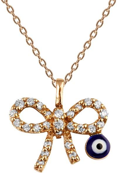 Clavis Jewelry Pırlantalı Fiyonk Kolye 14 Ayar