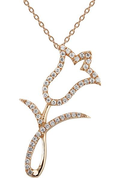 Clavis Jewelry Pırlantalı Lale Kolye 8 Ayar
