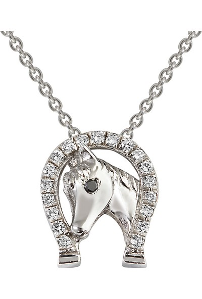 Clavis Jewelry Pırlantalı Nal Kolye 8 Ayar