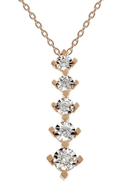 Clavis Jewelry Pırlantalı Süzme Taşlı Kolye 8 Ayar