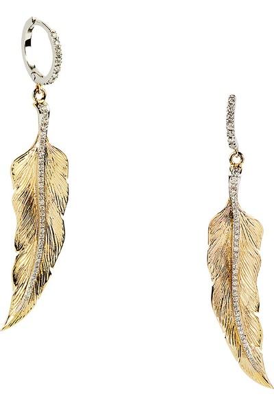 Clavis Jewelry Pırlantalı Tüy Küpe 14 Ayar