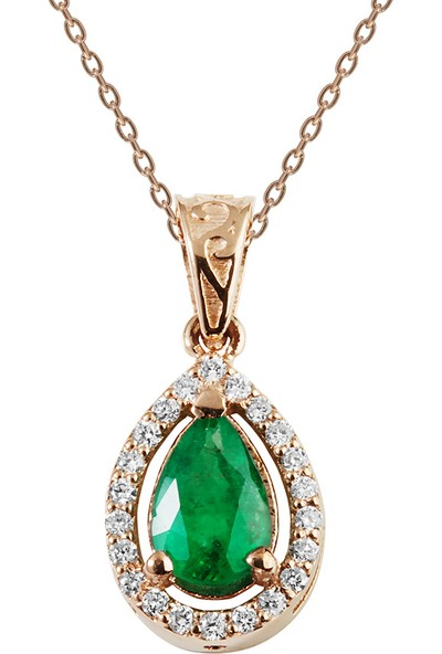 Clavis Jewelry Pırlantalı Zümrüt Taşlı Kolye 8 Ayar