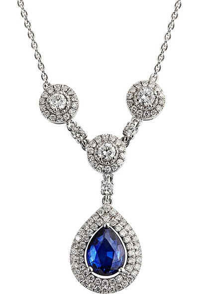 Clavis Jewelry Safir Taşlı Pırlanta Kolye 18 Ayar