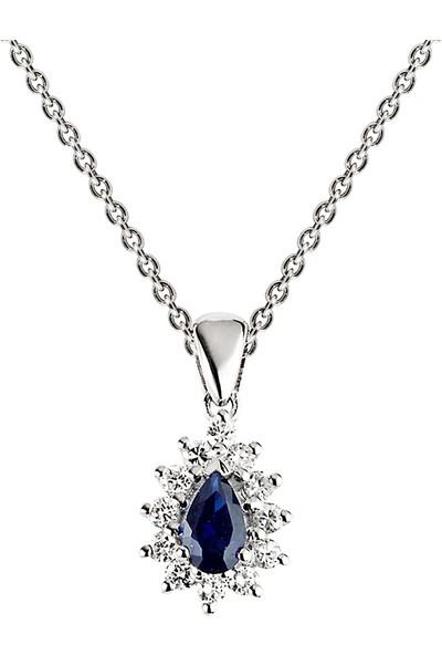 Clavis Jewelry Safir Taşlı Pırlanta Kolye 14 Ayar