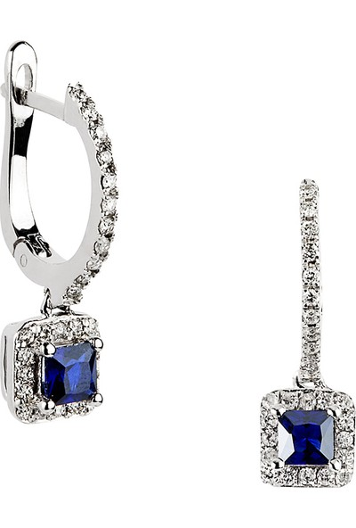 Clavis Jewelry Safir Taşlı Pırlanta Küpe 14 Ayar